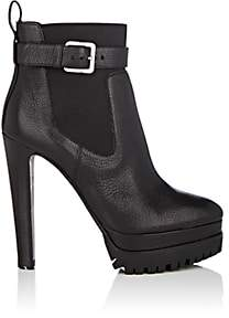 Sergio Rossi Women's Shearling-Lined Leather Platform Ankle Boots-Black