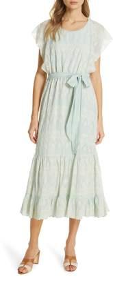 Love Sam Tallulah Embroidered Cotton & Silk Midi Dress