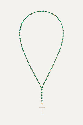 Diane Kordas 18-karat Rose Gold, Diamond And Malachite Necklace