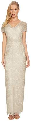 Adrianna Papell Short Sleeve V-Neck Long Metallic Lace Gown Women's Dress