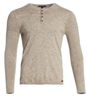 John Varvatos Wool-Blend Marled Long-Sleeve Shirt