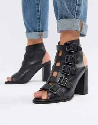 Asos Design DESIGN Pukka Premium Leather Multi Buckle Strap Heels
