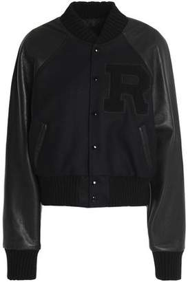 R 13 Wool-Blend Paneled Appliquéd Textured-Leather Jacket