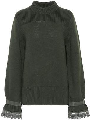 Moncler Lace-trimmed wool sweater