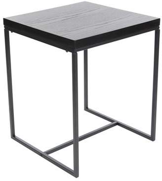 DecMode Decmode Contemporary 22 x 18 inch square gray wooden accent table with black iron rim and legs, Gray