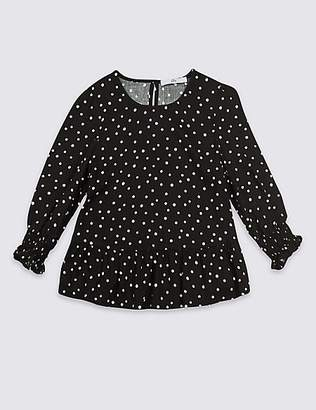 Marks and Spencer Spot Shirred Top (3-16 Years)