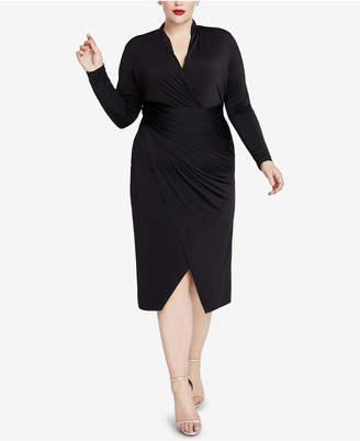Rachel Roy Plus Size Ruched Faux-Wrap Dress