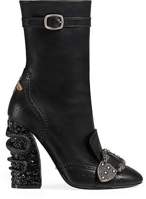 Gucci Women's Buckle-Strap Leather Ankle Boots