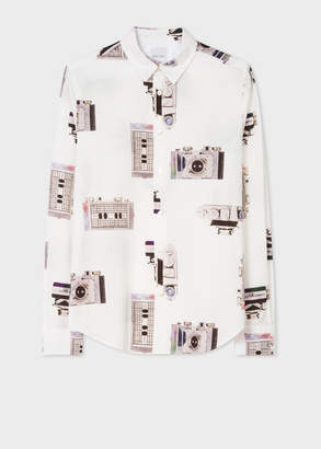 Paul Smith Men's Slim-Fit White 'Paul's Camera' Print Shirt With 'Artist Stripe' Cuff Lining