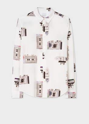 Paul Smith Men's Slim-Fit White 'Paul's Camera' Print Shirt With 'Artist Stripe' Cuff Lining