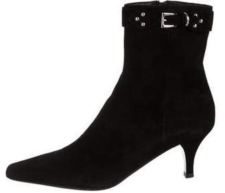Prada Suede Pointed-Toe Ankle Boots