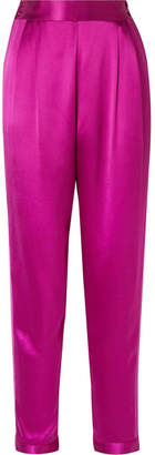 Fleur Du Mal Grosgrain-trimmed Silk-satin Tapered Pants - Magenta