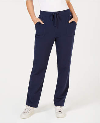 Karen Scott Petite Drawstring Straight-Leg Pants