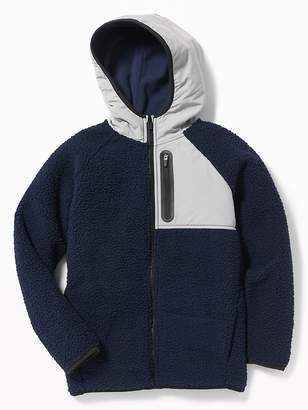 Old Navy Go-Warm Hooded Sherpa Hybrid Jacket for Boys
