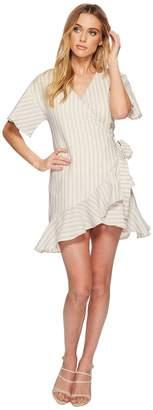 J.o.a. Flared Wrap Dress with Ruffle Hem Women's Dress
