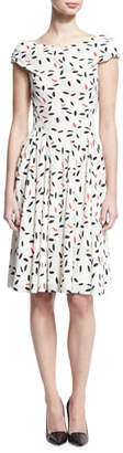 Zac Posen Feather-Print Cap-Sleeve Dress, Ivory/Coral/Black