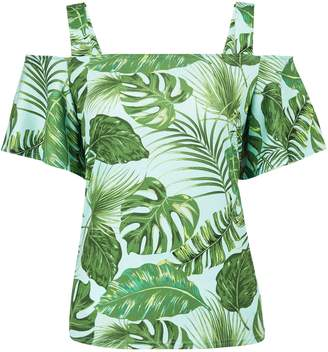 Dorothy Perkins Womens Green Tropical Leaf Print Cold Shoulder Top