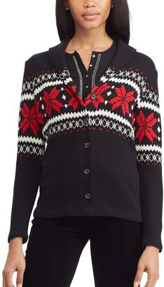 Chaps Women's Print Shawl-Collar Cardigan Sweater