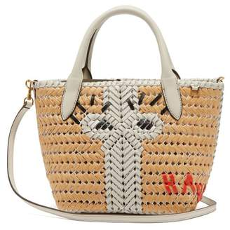 Anya Hindmarch The Neeson Mini Leather And Straw Tote Bag - Womens - White Multi