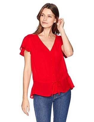 Lucky Brand Women's IT Girl Flutter Sleeve TOP