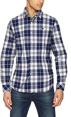 G Star Men's Core Straight Shirt L/s Casual (Imperial Blue/Milk Check 8899)