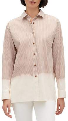 Lafayette 148 New York Everson Solo Melange Stripe Button-Front Long-Sleeve Blouse