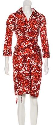 Samantha Sung Printed Wrap Dress Red Printed Wrap Dress