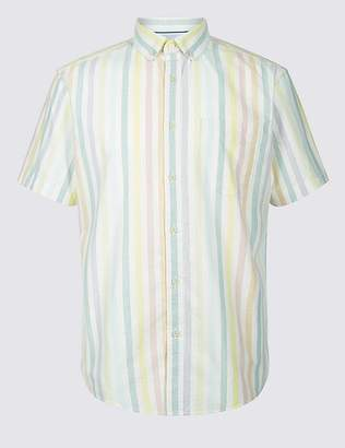 Marks and Spencer 2in Longer Pure Cotton Striped Oxford Shirt