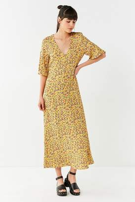 Urban Outfitters Flutter Sleeve Floral Maxi Dress
