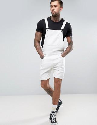 ASOS Short Denim Overalls In White $60 thestylecure.com