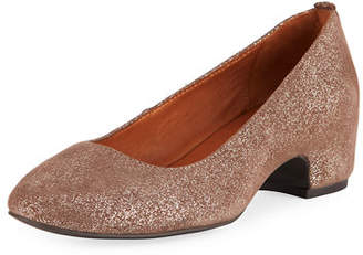 Gentle Souls Priscille Crinkled Metallic Leather Low-Heel Pumps