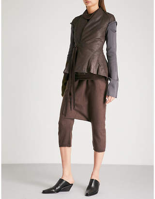 Rick Owens Knitted-sleeves leather jacket