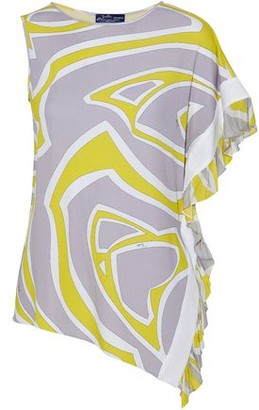 Emilio Pucci Asymmetric Ruffle-Trimmed Printed Stretch-Jersey Top