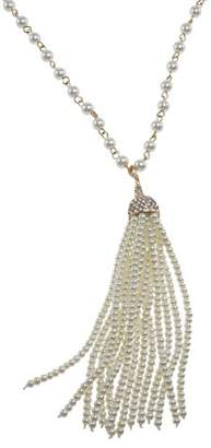 Kenneth Jay Lane Women's Silver Plated White Pearl Crystal Tassel Necklace of Length 76.20cm