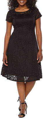 Ronni Nicole Short Sleeve Paisley Fit & Flare Dress-Petite