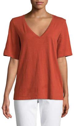 Eileen Fisher Short-Sleeve V-Neck Organic Cotton Slub Jersey Tee, Plus Size