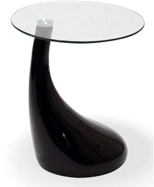 Fab Glass and Mirror Tear Drop Glass End Table Fab Glass and Mirror