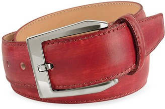Pakerson Men's Red Hand Painted Italian Leather Belt
