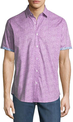 Bugatchi Shaped-Fit Striped Short-Sleeve Sport Shirt