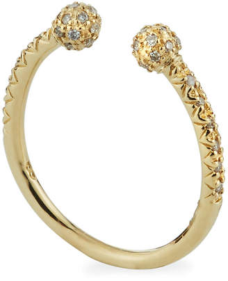 Sydney Evan 14k Yellow Gold Open Ring with Diamond Pave Balls, Size 7