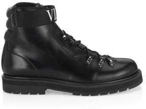 Valentino Logo Leather Combat Boots