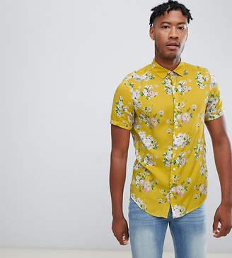 Asos DESIGN Tall regular fit floral shirt in mustard