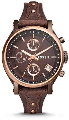 Fossil Original Boyfriend Chronograph Brown Leather Watch