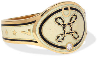 Foundrae - True Love 18-karat Gold, Diamond And Enamel Ring