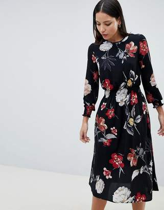 AX Paris Floral Print Midi Dress With Ruched Waist