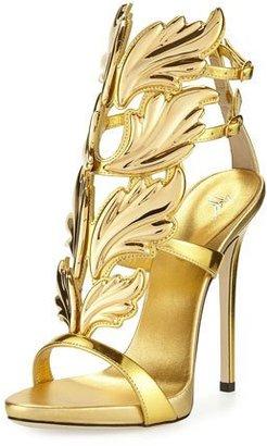 Giuseppe Zanotti Coline Wings Leather High-Heel Sandal, Oro $1,595 thestylecure.com