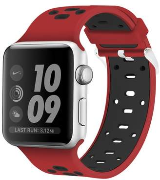 POSH TECH Red/Black Breathable Silicone 42mm Apple Watch 1/2/3/4 Sport Band