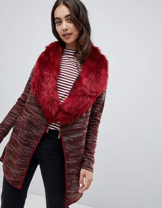 QED London Coatigan With Faux Fur Collar