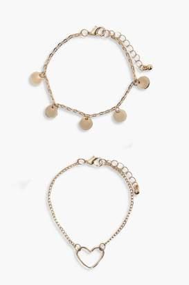 boohoo Coin & Heart Charm Bracelet 2pk