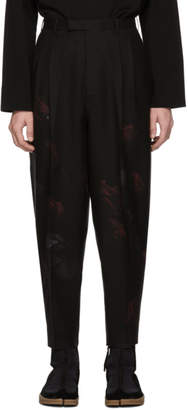 Lad Musician Black Rose 2-Tuck Tapered Wide Trousers